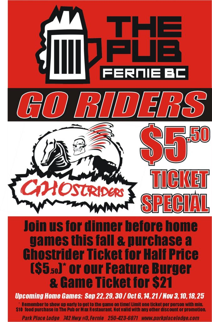 Fernie Ghostriders Home Game  – October 14  – Fall 2017