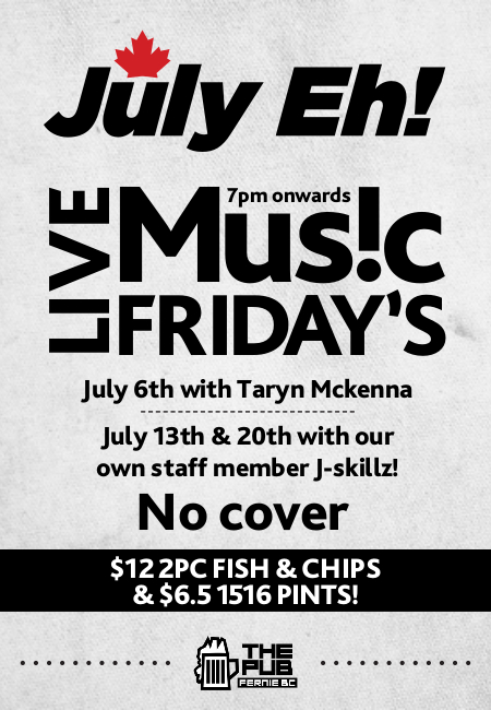 Live music Friday in the Pub with J-Skillz July 20th